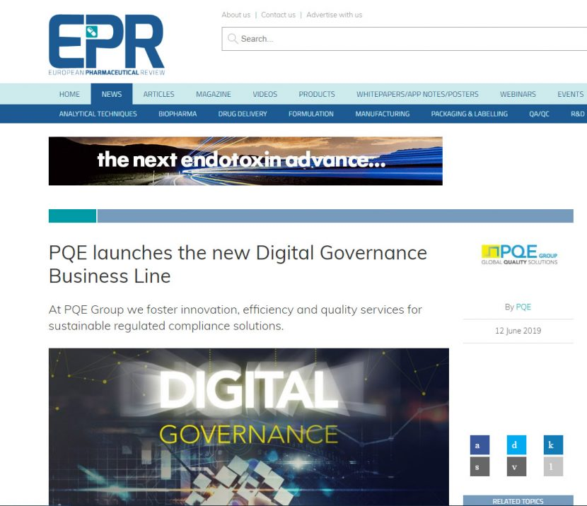 EPR european pharmaceutical review article PQE Digital Governance 12 june 2019