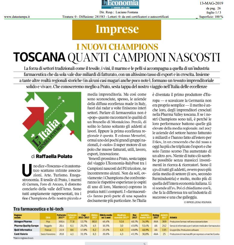 L'Economia - Corriere della Sera - I nuovi Champions